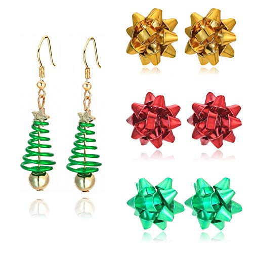 4 Pairs Christmas Stud Earrings Holiday Jewelry Set gifts for Womens Girls,Thanksgiving...