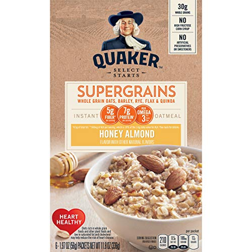 Quaker Instant Oatmeal Select Starts Super Grains Honey Almond 6 Packets