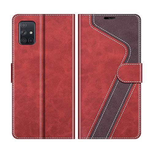 MOBESV Handyhülle für Samsung Galaxy A51 Hülle Leder, Samsung Galaxy A51 Klapphülle Handytasche Case für Samsung Galaxy A51 Handy Hüllen, Modisch Rot