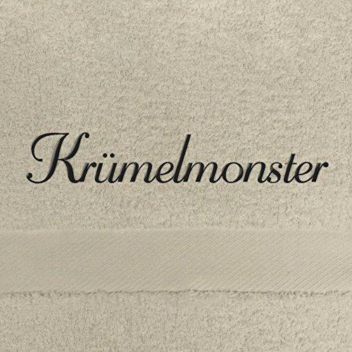 Handtuch mit Namen Krümelmonster bestickt, 50x100 cm, beige, extra flauschige 550 g/qm Baumwolle (100%), Badetuch mit Namen besticken, Duschtuch mit Bestickung