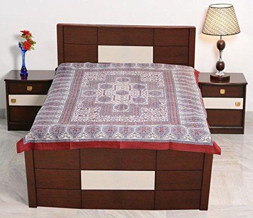 sarjana Kunsthandwerk indischen Twin Größe Baumwolle Spannbetttuch, Block gedruckt Tagesdecke Bettwäsche, Baumwolle, kastanienbraun, Approx. 84 Inches (213 cm) X 54 Inches (137 cm)