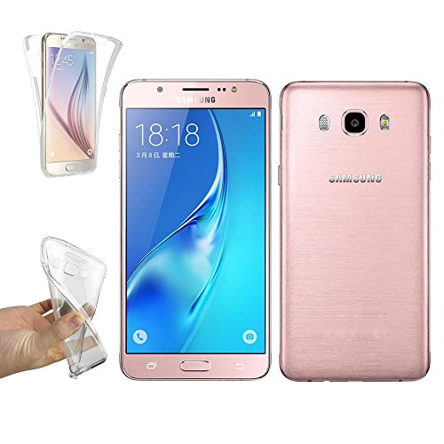 REY Funda Carcasa Gel Transparente Doble 360º para Samsung Galaxy J7 2016, Ultra Fina 0,33mm, Silicona TPU de Alta Resistencia y Flexibilidad