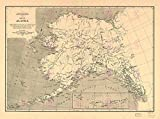 MAP ANTIQUE 1909 USGS ALASKA BERING SEA LARGE REPRODUCTION