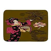 NIESIKKLA バスマット、芸者日本人女性、マット滑り止め ソフトタッチ 丸洗い 洗濯 台所 脱衣場 キッチン 玄関やわらかマット 45x 75cm