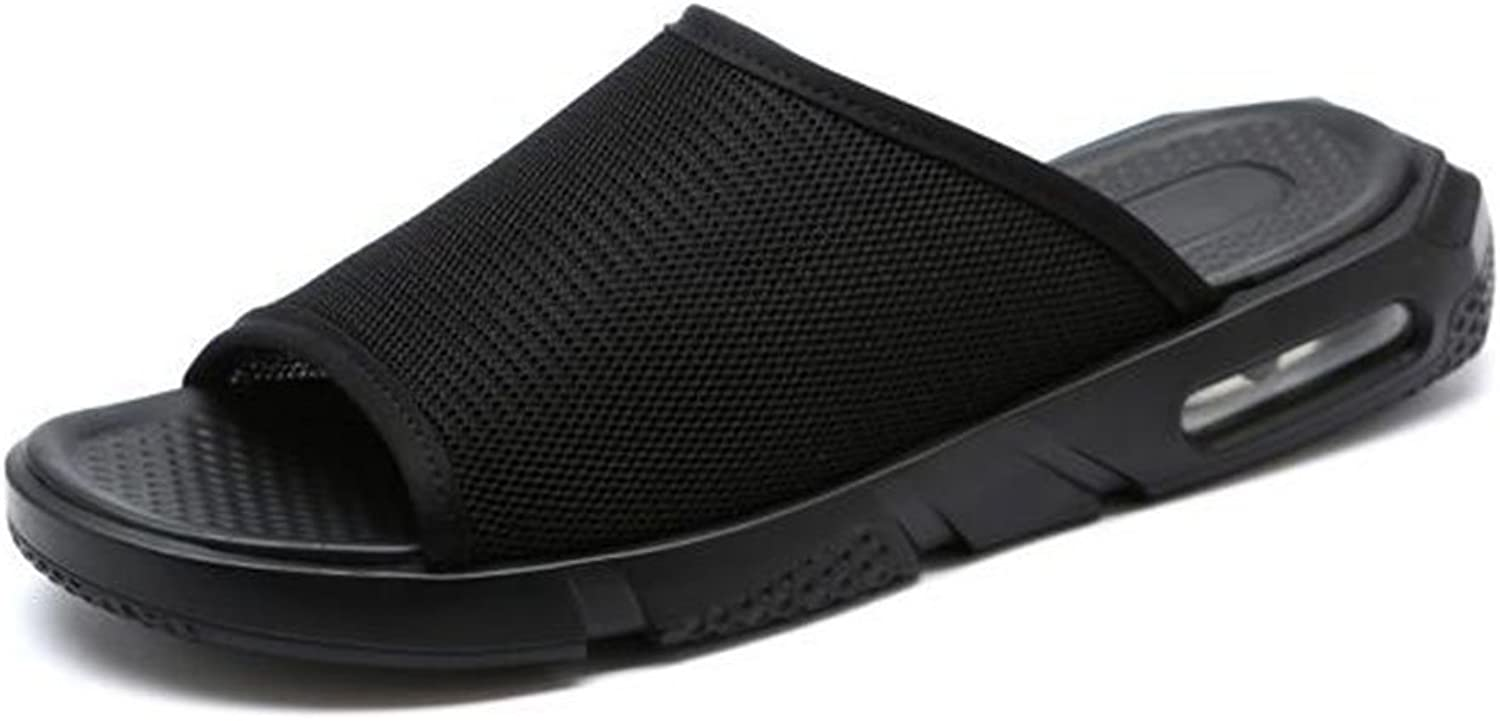 Men Comfort Slippers Summer New Mesh Hollow Beach shoes Men's Casual Breathable Slippers Sandals (color   Black, Size   41)
