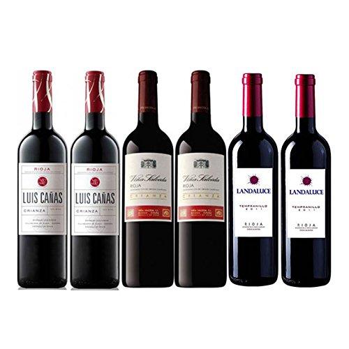 Pack Vino Rioja Clasicos Crianza Gourmet 6 botellas. 2 Luis Cañas Crianza, 2 Viña Salceda Crianza y 2 Landaluce Crianza