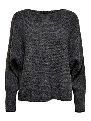 ONLY Damen ONLDANIELLA L/S KNT NOOS Pullover, Grau (Dark Grey Melange Detail: W.Melangé), 38 (Herstellergröße: M)