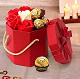 TIED RIBBONS Valentine Gifts for Girlfriend Boyfriend Husband Wife Girls Boys - Valentines Special ( Faux Rose ( Petal soap), Ferrero Rocher Chocolate Box and Gift Box with Hanging Loop)
