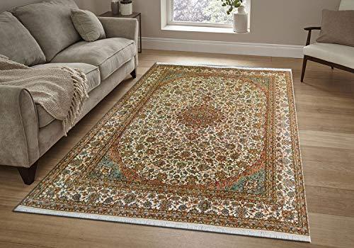 TrendyLiving4U Kurzflor-Designer Teppich extra weich fürs Wohnzimmer, Schlafzimmer, Esszimmer oder Kinderzimmer Kashmir Seide Kashan Handarbeit 213x300CM
