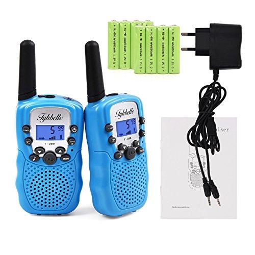 2x Kids smart Walkie Talkies inkl. AKKU Wiederaufladbare T-388 Funkgerät für Mädchen Jungen Kinder (Blau)
