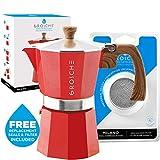 GROSCHE Milano Stovetop Espresso Maker Moka pot 6 espresso Cup - 9.3 oz, Red and 3 Replacement Seals Gaskets Bundle Stove top coffee maker Moka Italian espresso coffee maker and replacement gaskets