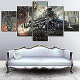 ZGZART One Set Poster Canvas Art Print Painting 5 Piezas Sci Fi Steampunk Retro Train Imágenes Arte Decorativo para el hogar - 30x40 30x60 30x80cm Sin Marco