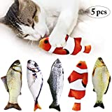 Bangcool Cat Catnip Toys, 5PCS Catnip Fish Toys For Cat Chewing Teeth Cleaning Fish Pillow Toys Interactive Plush Cat Toy For Cats
