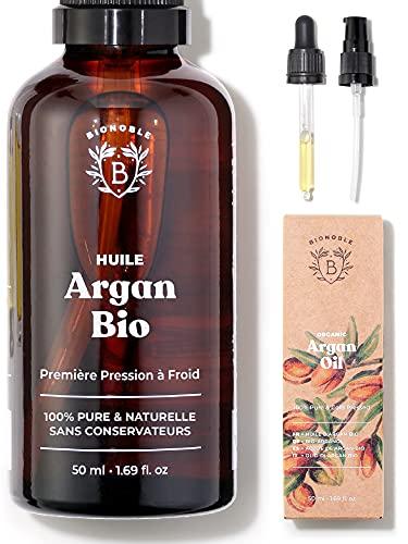 BIONOBLE ORGANIC ARGAN OIL 100% शुद्ध, प्राकृतिक और ठंडा प्रेस   ग्लास पिपेट और पंप, ग्लास की बोतल   चेहरा, शरीर, बाल, नाखून   पोषण और मरम्मत   आर्गन ऑइल मोरक्को (50 मि.ली.)