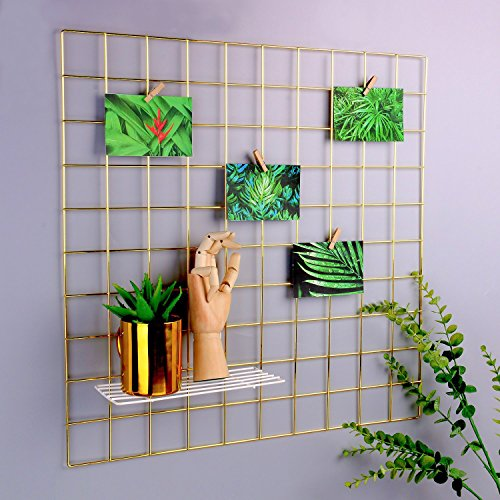 "SIMMER STONE Gold Wall Grid Panel for Photo Hanging Display & Wall Decoration Organizer, Multi-Functional Wall Storage Display Grid, 10 Clips & 4 Nails Offered, Set of 1, Size 23.6""x 23.6"" Square"