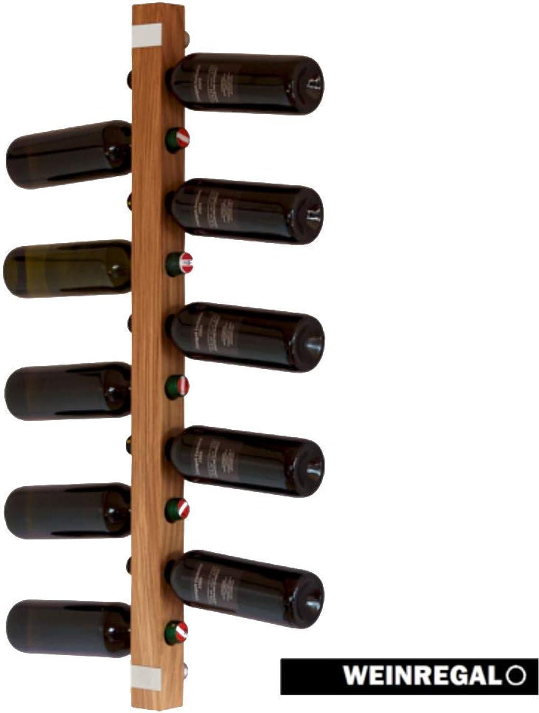 WEINREGALO Eiche  Das Design Wand Weinregal Flaschenregal aus Holz (Weinregale Flaschenregale für 11 Flaschen, 100x5x5cm) Weinflaschenhalter ist modern und dekorativ für Wohnzimmer und Küche