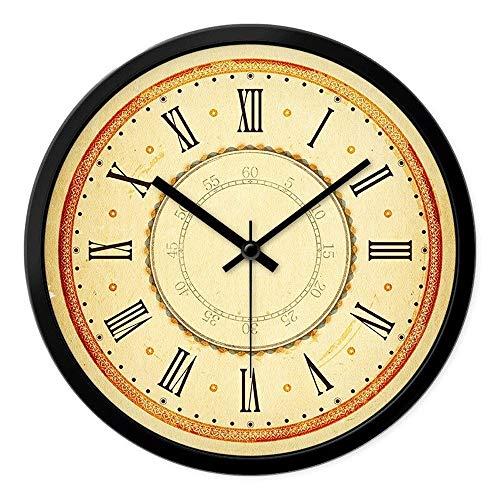 Reloj de pared de decoración para el hogar de estilo retro americano Números arábigos y números romanos Reloj creativo Marco de metal negro Reloj de péndulo de cuarzo redondo Reloj de pared silencioso