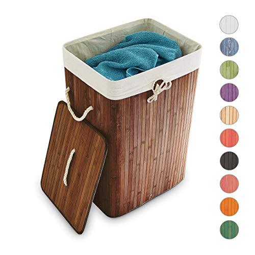 Relaxdays Wäschekorb Bambus, mit Deckel, rechteckig, XL, 83 L, faltbarer Wäschesammler, HBT 65,5 x 43,5 x 33,5 cm, braun
