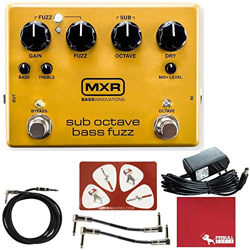 MXR M287 Sub Octave Bass Fuzz Effects Pedal with Polish Cloth, Pick Card, Patch...