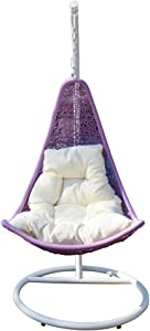 Egg Shape Wicker Rattan Swing Lounge Chair Weaved Hanging Hammock in or Out Door Patio Porch - White Lavender Khaki