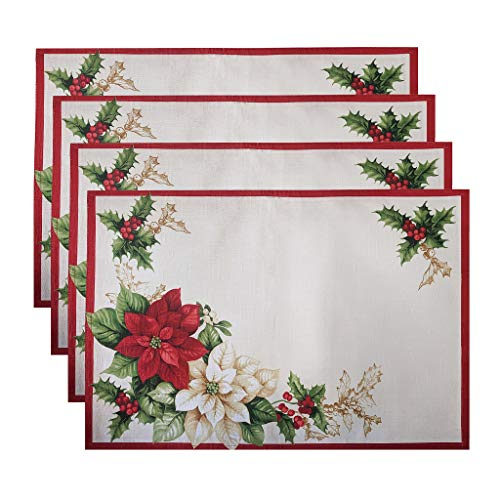 Elrene Home Fashions Red and White Poinsettia Christmas Holiday Fabric Placemat Set of 4, 13' x 19', Multi