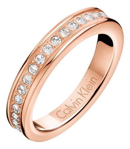Anillo Hook de Calvin Klein, con cristales en oro rosa (KJ06PR140107)