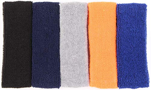 Sweat Headbands For Men – 5PK Sweatbands Cotton Headwrap For Basketball Running Sports Workout Exercise, Mens Sweatband Stretchy Terry Cloth Athletic Sweat Headband Headwear (Mixed, 5PCS)