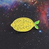 ライトイエローのレモンエナメルピン!EASY PEASY LEMON SQUEEZY Creative Fruit Series激励友達愛好家へのブローチギフトの奨励