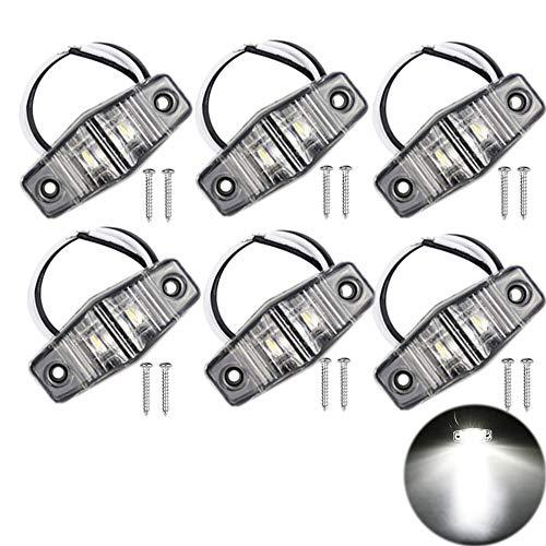 PolarLander 6 Pcs Feux de gabarit côté Voiture LED Lampe de Liquidation 12V 24V Remorque E-marquée Piranha Caravan Bus feu arrière Lampe Amber Blanc