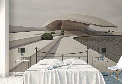 Vlies Fototapete Fotomural - Wandbild - Tapete - Rooftop Schwimmbad Beton Pavillon Gebüsch - Thema Architektur - MUSTER - 104cm x 70.5cm (BxH) - 1 Teilig - Gedrückt auf 130gsm Vlies - 1X-811496VEM