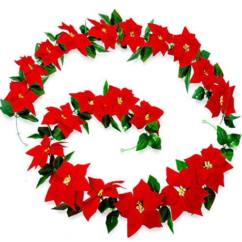 Whaline 2pcs Christmas Poinsettia Flower Garland Decorations 6.4ft Artificial Poinsettia with Holly Leaves Poinsettia Ornaments for Christmas Tree Xmas Party Door Fireplace Wall Garden Yard Decor