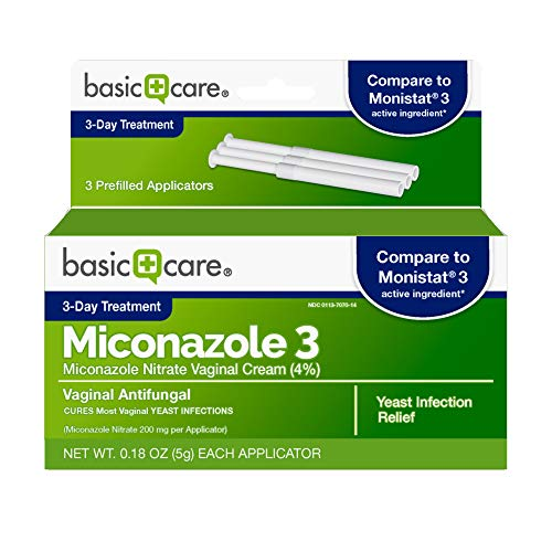 Amazon Basic Care Miconazole 3, Nitrate Vaginal Cream (4%), 3-Day Treatment for Vaginal Yeast Infection, 0.18 Ounce (Pack of 3), 0.54 Ounce