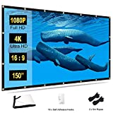 TOWOND Pantalla Proyector 150 Pulgadas 16:9 HD Support 4K Pantalla de Proyección Plegable Antiarrugas Portátil para Cine en casa Soporte para Exteriores en Interiores Pantalla de Doble Cara