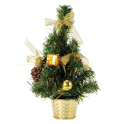 Tinksky Árvore de Natal de mesa de luxo, com pinha, para decoração e presente, 30 cm, dourada