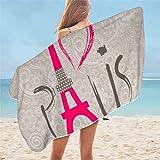 Toalla de playa con diseño de Torre de París de Francia en blanco y negro con letras románticas con impresión de corazón