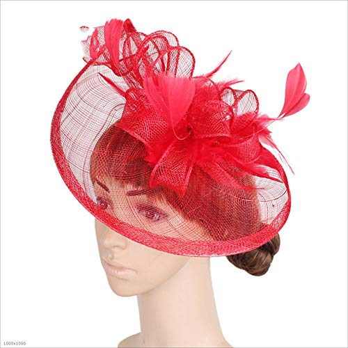 Blooming flowers Ladies and Ladies Ladies Elegant Hats Bridal Feathers Hairpin Accessories Cocktail Royal Ascot Headwear (Color : Red)