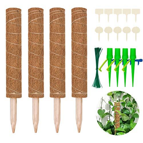 Halcyerdu 4 Stück 40 cm Kokosstab, mit 10 Pflanzenschilder, 50 Pflanzenbinder und 4 Automatisch Bewässerung, für Zimmerpflanzen, Pflanzstab Kokos Rankstab Rankhilfe Blumenstab