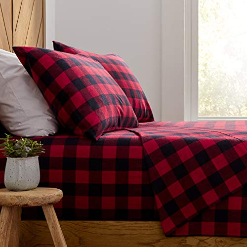 Amazon Brand – Stone amp Beam Rustic Buffalo Check Flannel Bed Sheet Set Queen Red and Black