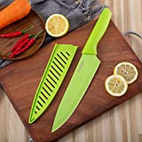 Perkin Chef Knife Kitchen Knife with Sheath Cooking Knife Stainless Steel with Non Stick Coating Ergonomic Handle