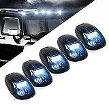 5 X Cab Marker Light, Smoke Lens White 12 LED Housing Cab Roof Running Lights, Top Clearance Light for 2003-2018 Dodge Ram 1500 2500 3500 4500 5500 Pickup Trucks