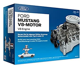 Ford 1965 Mustang V8 Engine Model Kit - Working Model Motor with Collector s Handbook