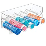 mDesign Plastic Free-Standing Water Bottle and Wine Rack Storage Organizer for Kitchen Countertops, Table Top, Pantry, Fridge - Stackable - Holds 5 Bottles Each, 2 Pack - Clear
