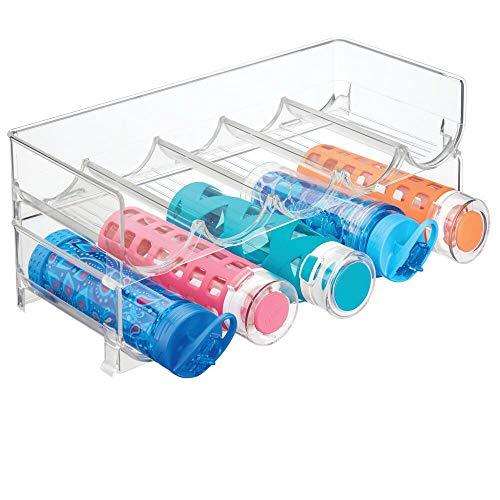 mDesign 2er-Set Flaschenregal stapelbar – praktisches Weinregal Kunststoff für bis zu 5 Flaschen – handliches Regal für Weinflaschen oder andere Getränke – durchsichtig