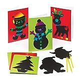 """Baker Ross Kratzbildkarten """"Weihnachten"""" für Kinder – für weihnachtliche Bastelarbeiten und Dekorationen (6 Stück) -"""