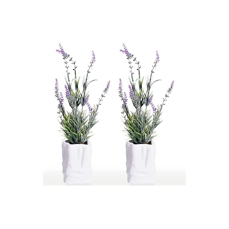 """silk flower arrangements 2 pack mini potted artificial lavender plant flowers in cement pots 15.74"""" tall faux herbs planter set small houseplants green fake plastic bonsai for indoor greenery tabletop wedding decorations"""