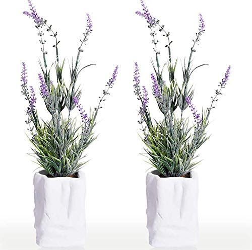 2 Pack Mini Potted Artificial Lavender Plant Flowers in Cement Pots 15.74' Tall Faux Herbs Planter Set Small Houseplants Green Fake Plastic Bonsai for Indoor Greenery Tabletop Wedding Decorations