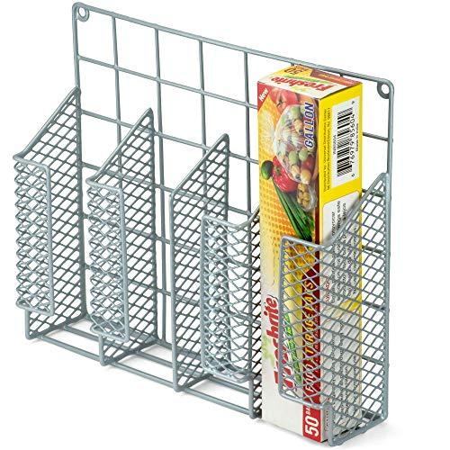 DecorRack Wrap Organizer Rack, Wall and Cabinet Door Mount, Space Saving Kitchen Storage Organizer Basket, Aluminum Foil, Saran Wrap, Wax Paper, Plastic Bag Holder in Metal Steel Wire (1 Pack)