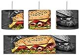 Selbstgemachte Sandwiches schwarz/weiß inkl. Lampenfassung E27, Lampe mit Motivdruck, tolle...