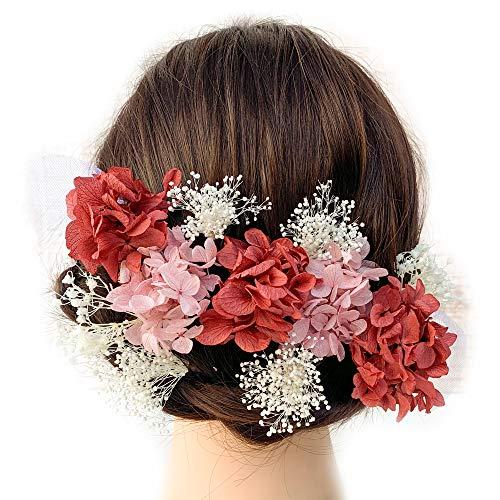 Lulu's ルルズ 椿 髪飾り ヘッドドレス プリザーブドフラワードライフラワー 和装 着物 振袖 ウェディング ブライダル 成人式 卒業式 椿 Lulu's-0491