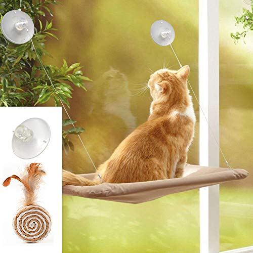 ZALALOVA Window Cat Seat, Cat Window Perch Hammock Space Saving Design w/1Pc Cat Toy 1Pc Extra Suction Cup Window Seat Cat Shelves All Around 360 Degree Sunbath Holds Up to 50lbs for Any Cat Size